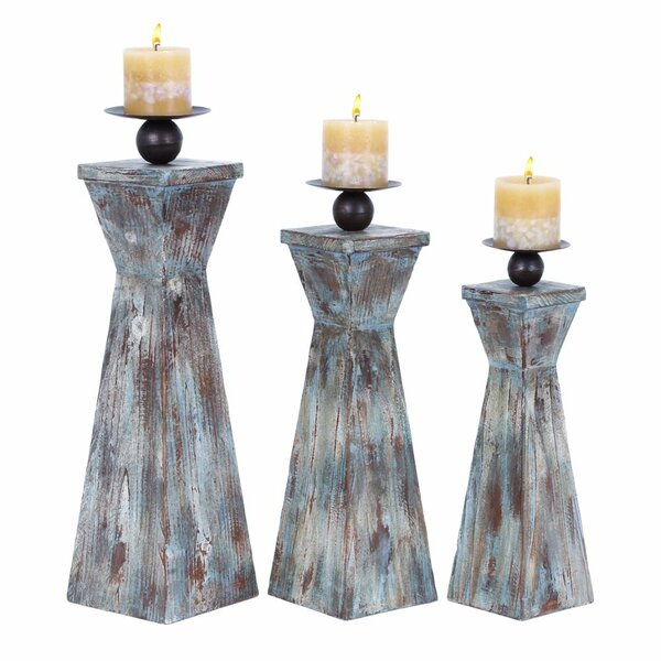 Functional 3 Piece Wood Candlestick Set by World Menagerie