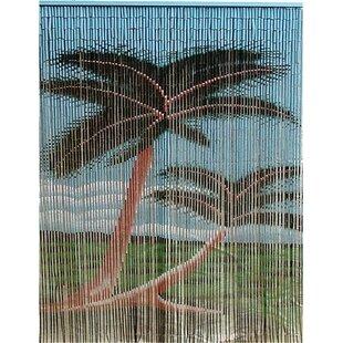 Porter Rayon Double Palm Tree Graphic Print U0026 Text Semi Sheer Single Curtain  Panel