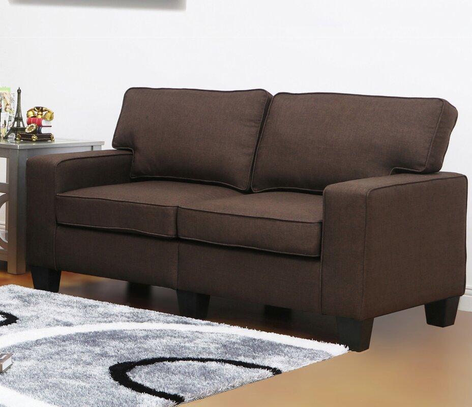 Living In Style Jordan Linen Modern Living Room Loveseat & Reviews ...