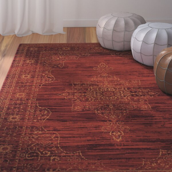 Watts Red Area Rug by World Menagerie