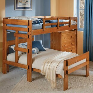 Price comparison Twin over Twin L-Shaped Bunk Bed with 4 Drawer Chest By Chelsea Home