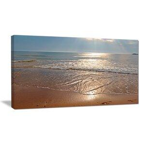 Tranquil Seashore with Crystal Waters Seashore Photographic Print on Wrapped Canvas by Design Art