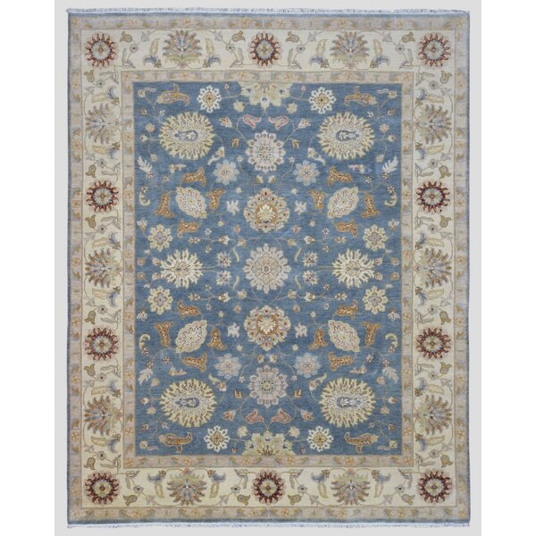 Baron Hand Woven Wool Blue/Beige Area Rug by Isabelline