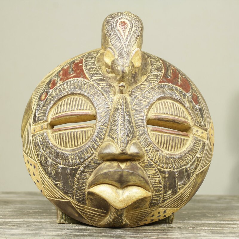 Novica Elephant Theme Handcrafted Circular African Mask Wall Décor ...