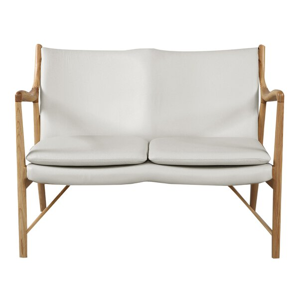 Rashad Mid-Century Modern Leather Loveseat by Corrigan Studio