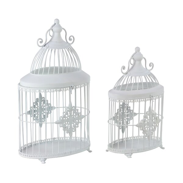 Charmell Traditional Bird Cage 2-Piece Metal Planter Box Set by Ophelia & Co.