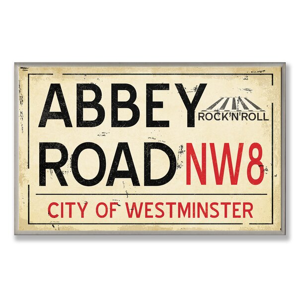 Abbey Road NW8 Railroad Textual Art Wall Plaque by Stupell Industries