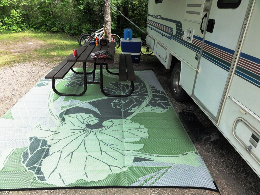 B B Begonia Blossom Rv Camping Patio Mat Green Grey