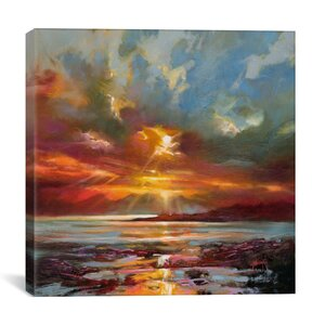 'Sunset Over Rum' Painting Print on Wrapped Canvas by Zipcode Design