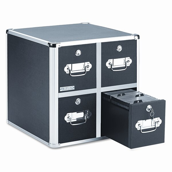 Four-Drawer CD File with Key Lock Holds 660 Discs,