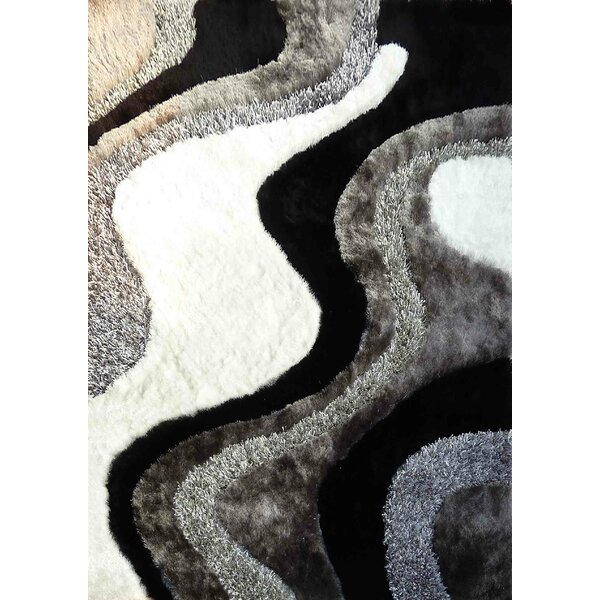 Shaggy Viscose Design Black/Gray Area Rug by Rug Factory Plus