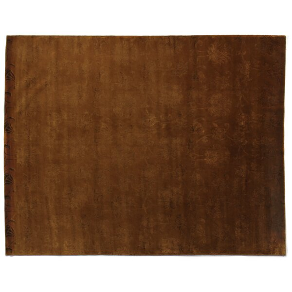 Super Tibetan Hand-Knotted Terracotta Area Rug by Exquisite Rugs