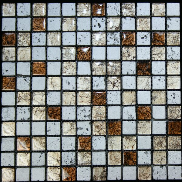 1 x 1 Glass and Stone Mosaic Tile in Multi by Legion Furniture