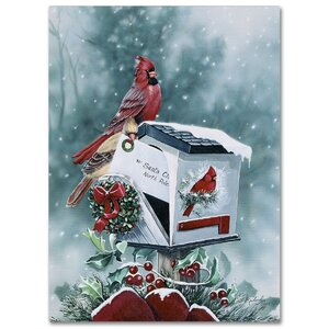 'Christmas Cardinals' by Jenny Newland Graphic Art on Wrapped Canvas by Trademark Fine Art