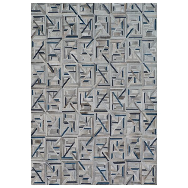 Natural Hide Hand-Tufted Cowhide Silver/Ivory/Blue Area Rug by Exquisite Rugs