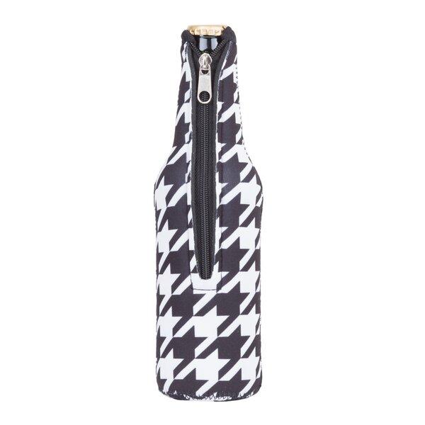 Neoprene Houndstooth Beer Bottle Jacket with Zipper by Zees Inc.