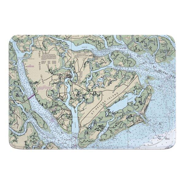 Nautical Chart Port Royal Island, St. Helena Island, Fripp Island, Hunting Island SC Rectangle Memory Foam Non-Slip Bath Rug
