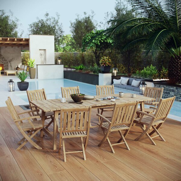 Christian Outdoor Patio 9 Piece Teak Dining Set by Rosecliff Heights