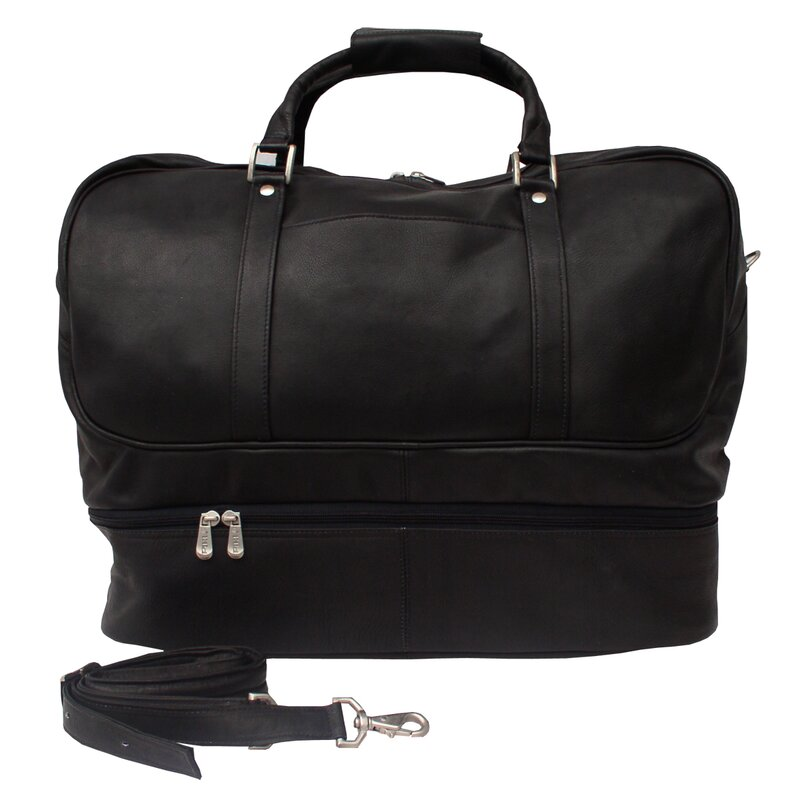 """Traveler 20"""" Leather False Bottom Travel Duffel"""