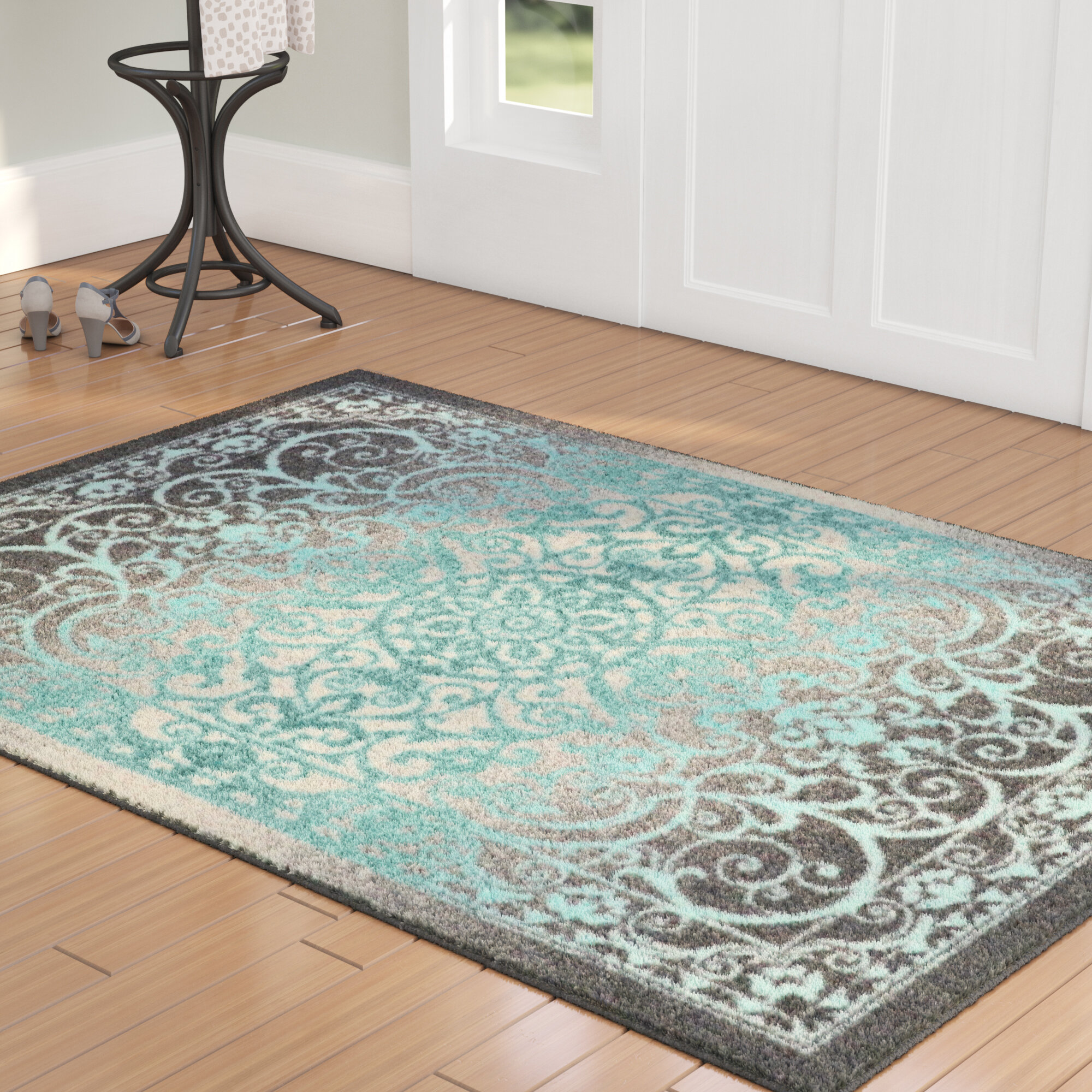 Charlton Home Landen Ancient Aqua Area Rug Reviews Wayfair