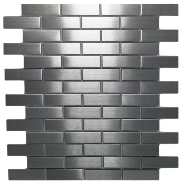 1 x 3 Stainless Steel Mosaic Tile in Silver by CNK Tile