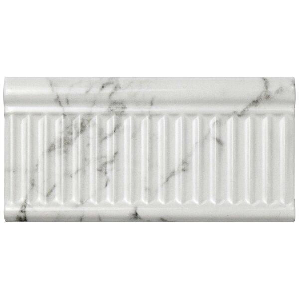 Karra Carrara 3 x 6 Ceramic Subway Tile in Glossy Rex White/Gray by EliteTile