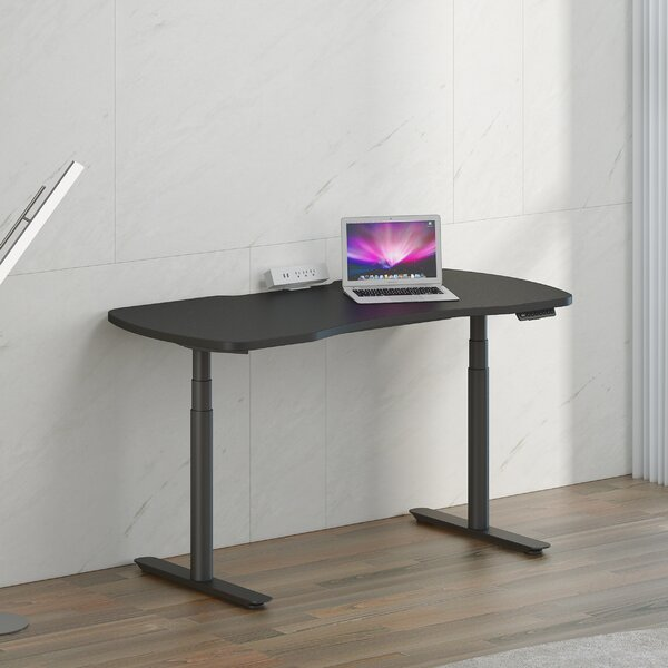 Double Motor Three Section Electric Lifting Standing Desk Silver