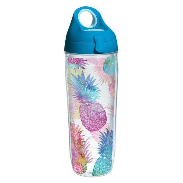 Sun and Surf Watercolor Pineapples Water Bottle 24 oz. Plastic by Tervis Tumbler