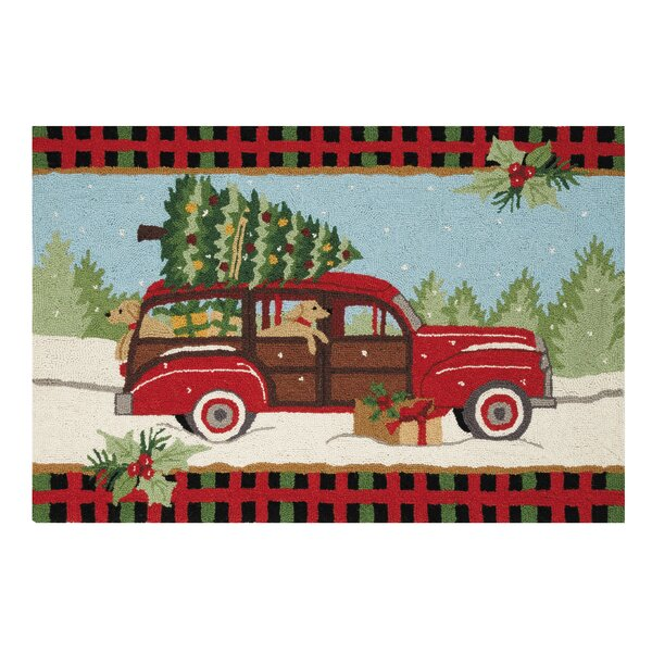 Mateo Wagon Dogs Hand-Hooked Wool Red Area Rug by