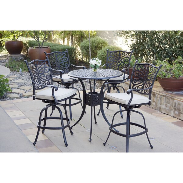Burkes 5 Piece Dining Set with Cushions by Canora Grey