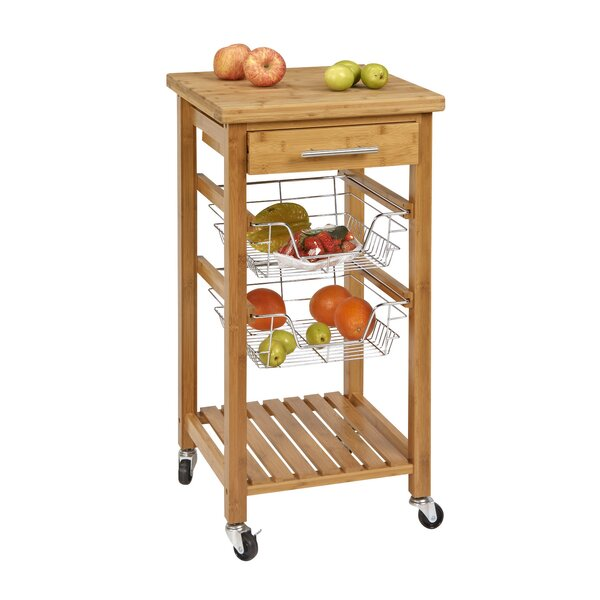 Danial Bamboo Kitchen Bar Cart by Highland Dunes