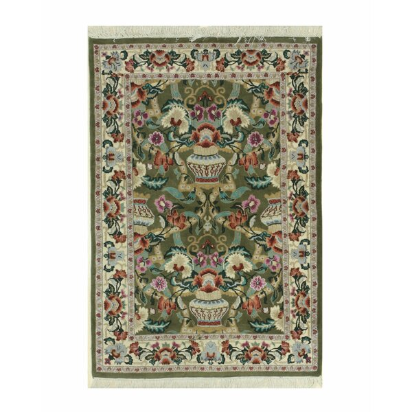 Vase Hand-Knotted Green/Beige Area Rug by Eastern Rugs