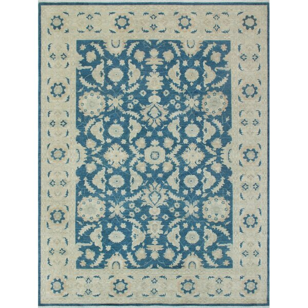 Longoria Chobi Knotted Rectangle Wool Blue Area Rug by Canora Grey