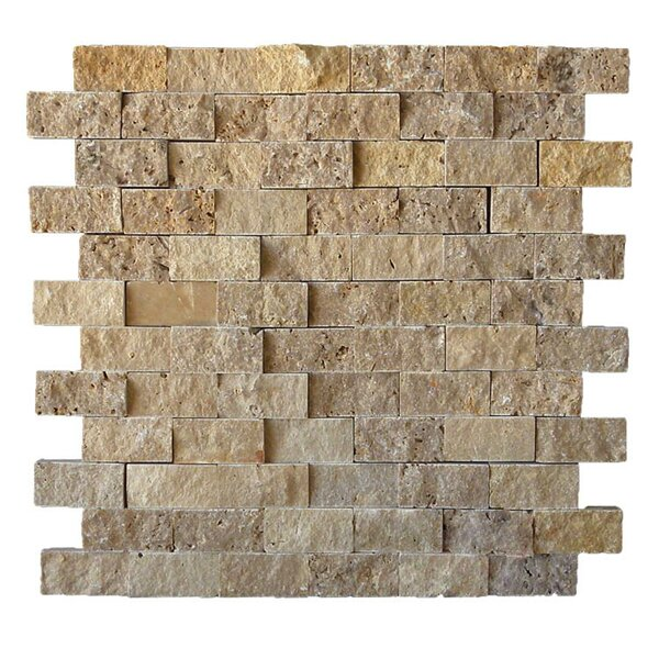 1 x 2 Natural Stone Mosaic Splitface Tile in Noce by QDI Surfaces
