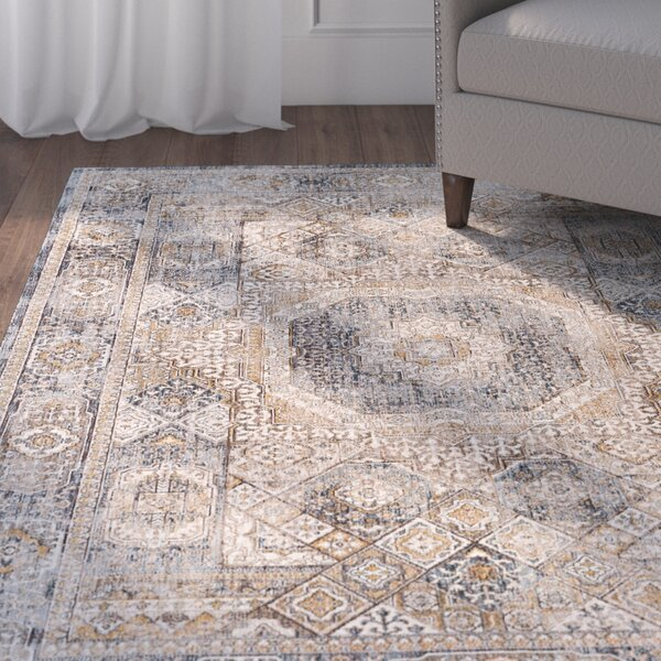 Matteson Traditional Oriental Navy/Beige Area Rug by Three Posts