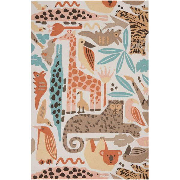 Crew Park Hand-Hooked Coral/Beige Area Rug by Harriet Bee