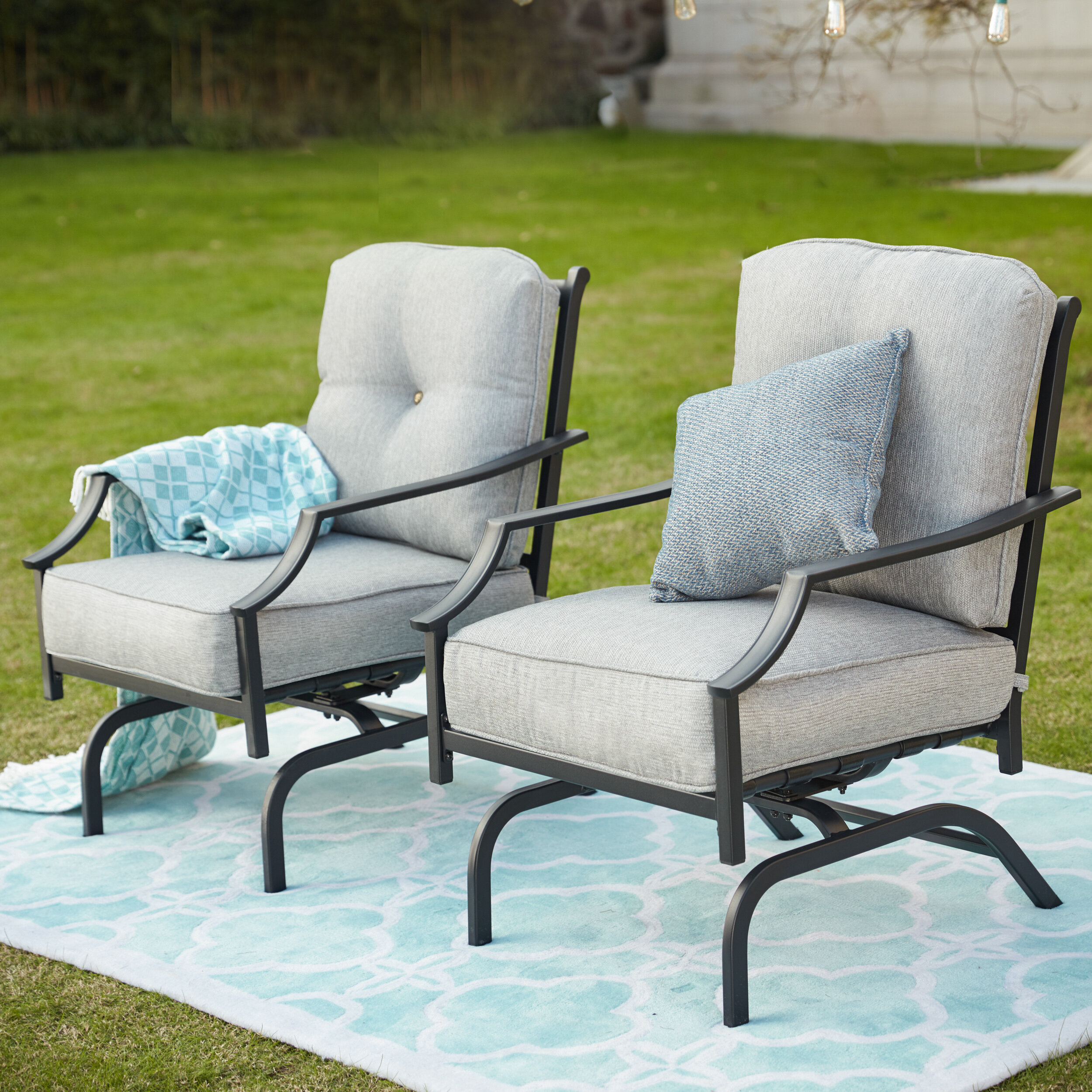timeless design 03faa 6b27f Siemens Outdoor Spring Rocking Chair with Cushions