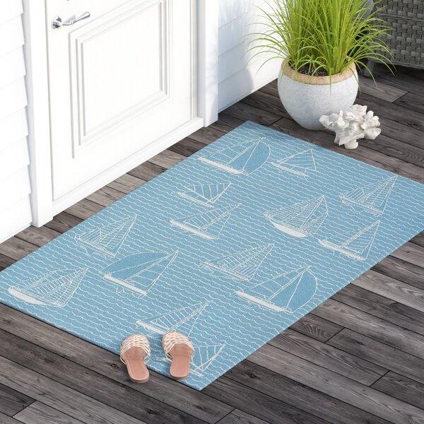 Northfield Sails Handmade Water Resistant Blue Indoor/Outdoor Area Rug by Beachcrest Home