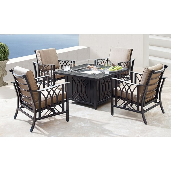 Mccomas 5 Piece Dining Set with Cushions and Firepit by Canora Grey