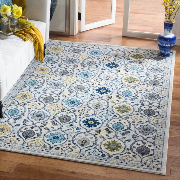Aegean Ivory/Blue Area Rug by Andover Mills