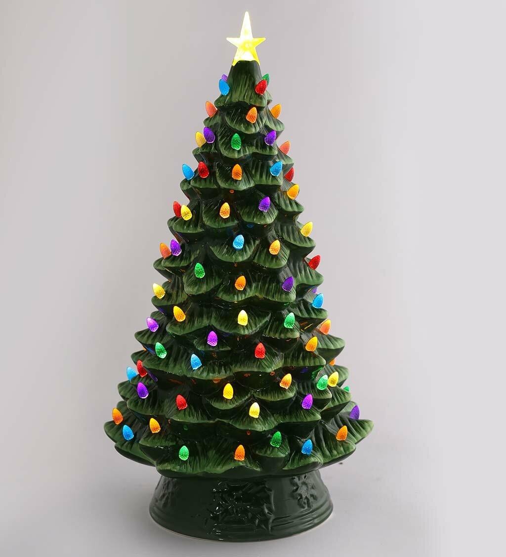 Ceramic Christmas Tree.Lighted Ceramic Christmas Tree