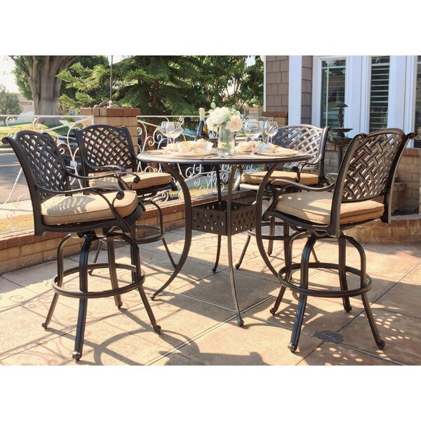 Wachtel 5 Piece Bar Height Dining Set with Cushions by Darby Home Co