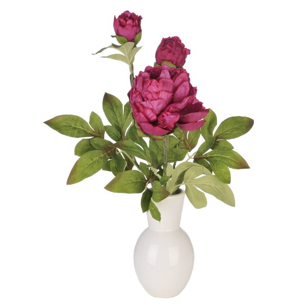 Artificial Peony in Ceramic Vase by House of Silk Flowers Inc.