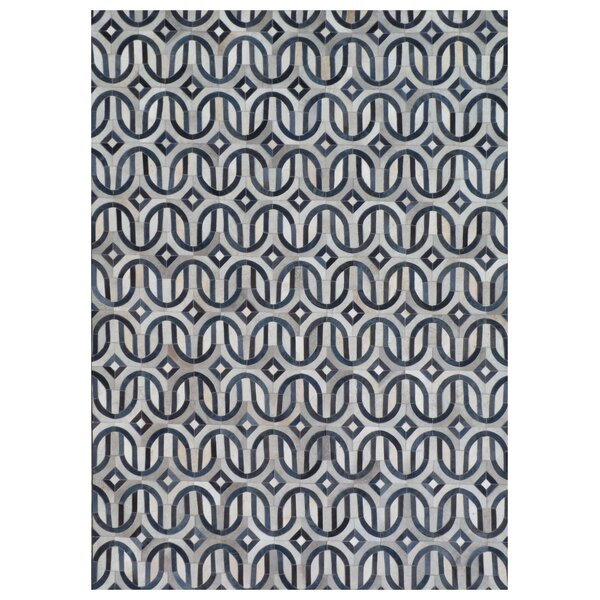 Natural Hide Hand-Tufted Cowhide Ivory/Blue Area Rug by Exquisite Rugs