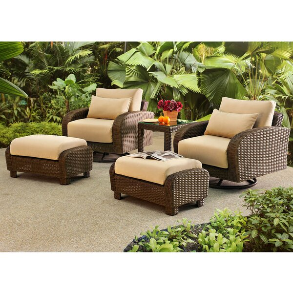 Fleming 5 Piece Rattan Conversation Set with Cushions by Darby Home Co