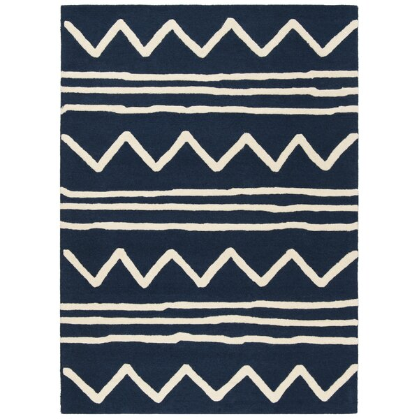 Claro Zigzag Hand-Tufted Navy Area Rug by Harriet Bee
