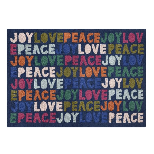 Mather Joy To The World Hand-Hooked Wool Blue/Black Area Rug by The Holiday Aisle