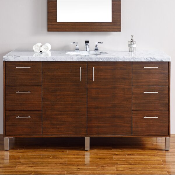 Cordie Modern 60 Single American Walnut Hardwood Base Bathroom Vanity Set by Orren Ellis