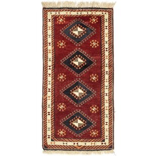 One-of-a-Kind Glenaire Hand-Knotted Runner 3'4 x 6'9 Wool Red/Black Area Rug Isabelline