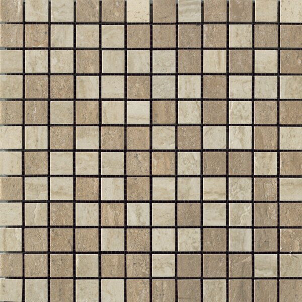 Travertini Porcelain Mosaic Tile in Polished Walnut/Cream by Samson